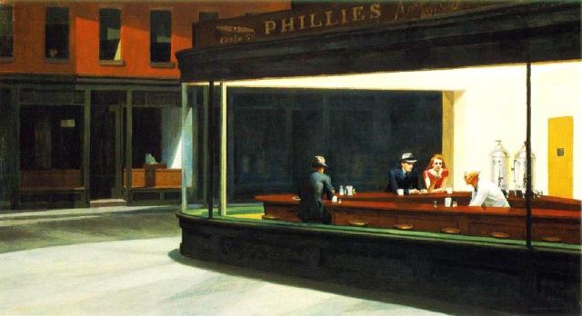Escenas de un bar, cuadro los noctambulos edward hooper